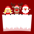 Angel, Rudolph & Santa Label Dots Red