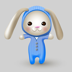 Cute bunny doll. Vector illustration.