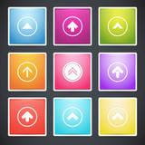 Vector set of different colorful arrows buttons.