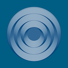 Circles optical effect - blue color background