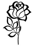 black silhouette outline rose, isolated on white.