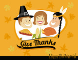 Thanksgiving Greeting, with pilgrims and native American