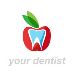 Vector Logo dentist. Bite the apple