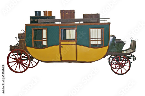 Horse carriage on white background