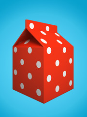 Red milk box isolated on blue background 3D rendering