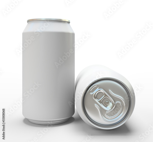 White alluminium cans on white background