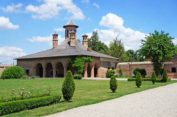 The courtyard of the Mogosaia Palace in Romania