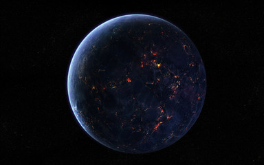 Extraterrestrial planet covered in lava