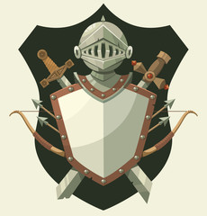 Knight's helmet and shield