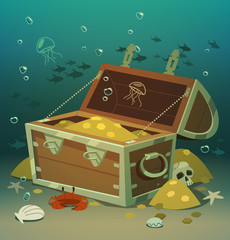 Treasure chest at the bottom of the sea © Diashule
