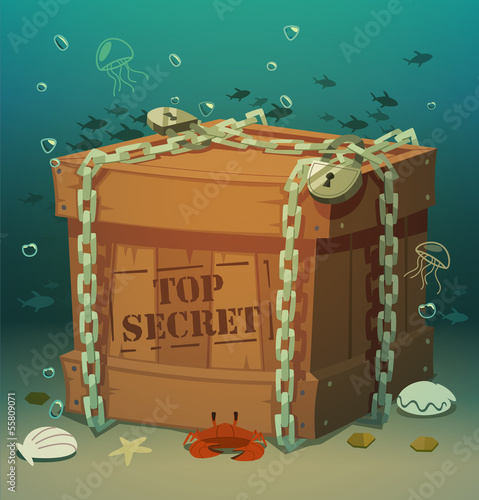 Box in chains at the bottom of the sea