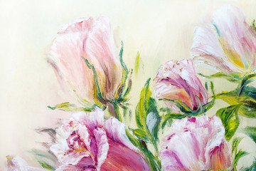 Beautiful roses, oil painting on canvas