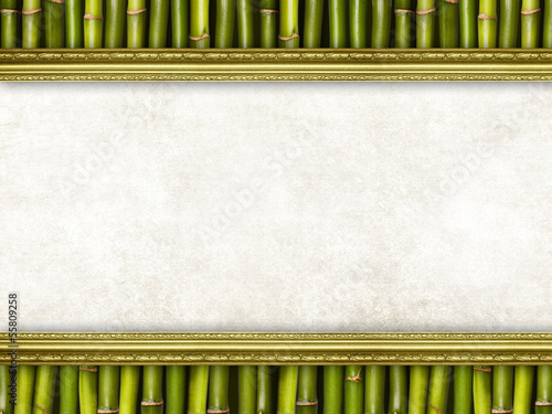 Blank paper sheet on bamboo background