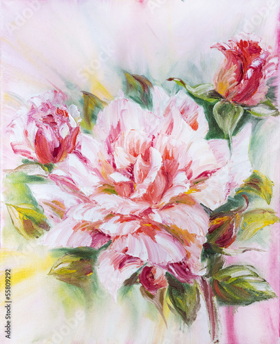 Beautiful rose, oil painting on canvas