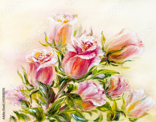 Roses, oil painting on canvas