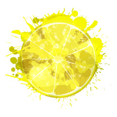 Lemon slice made of colorful splashes on white background