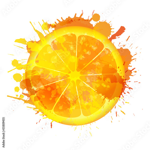 Orange slice made of colorful splashes on white background