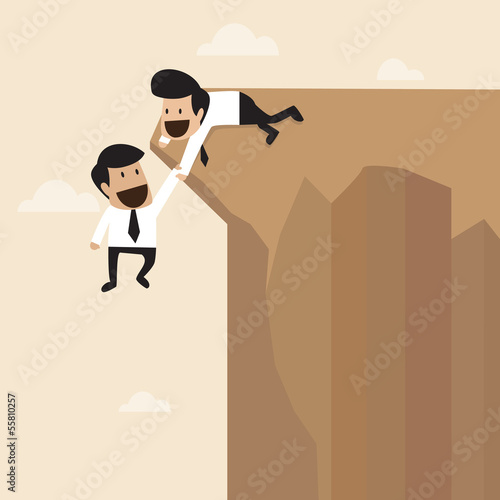 Businessman help to pull another from bottom of cliff
