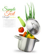 canvas print picture - Colorful vegetables in a stainless steel cooking pot