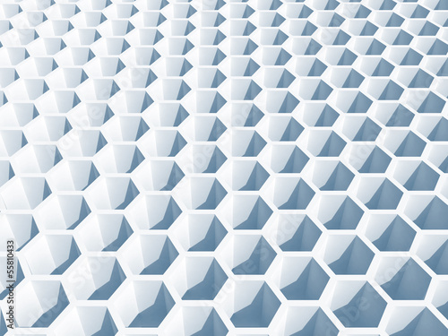 Light blue honeycomb surface. 3d illustration