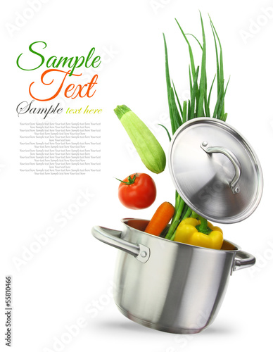 canvas print picture Colorful vegetables in a stainless steel cooking pot