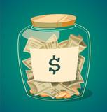 Saving money jar. Vector illustration. - 55811228