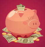 Piggy bank. Vector illustration.