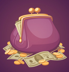 Wallet with money. Vector illustration.
