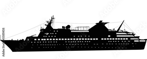 large passenger ship isolated on white
