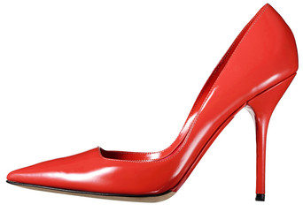 Single red leather ladies court shoe