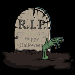 vector illustration: zombie crawls out of the grave