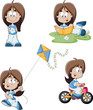 Cute pcartoon girl riding a bike, reading and flying kite.
