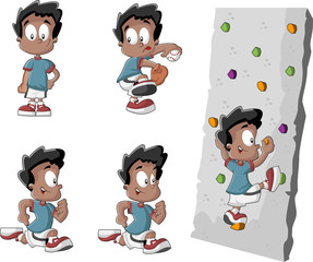 Cartoon black boy playing baseball, running and climbing