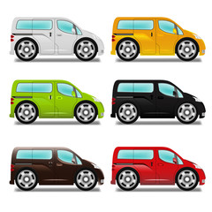 Cartoon minivan with big wheels, six different colors.