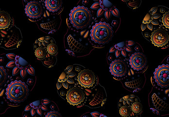 Sugar skull seamless pattern