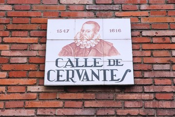 Cervantes street, Madrid, Spain