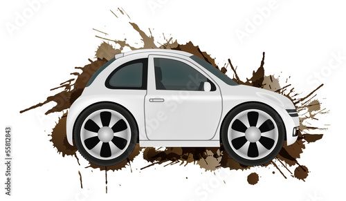 Car wash concept. Clean car in front of dirt splashes.