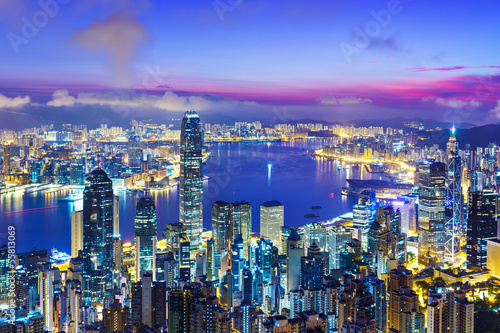 Foto op Canvas Hong-Kong Hong Kong city skyline during sunrise