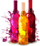 Group of wine bottles vith grunge splashes. Red, rose and white.