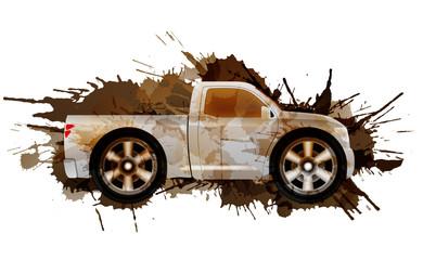 Dirty puckup with big wheels