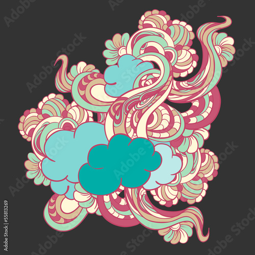 Colorful doodle with clouds and flowers