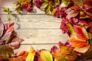 Autumn border from apples and fallen leaves on old wooden table