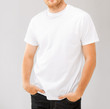 smiling man in blank white t-shirt