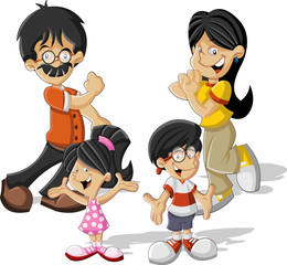 Colorful cute happy cartoon asian family