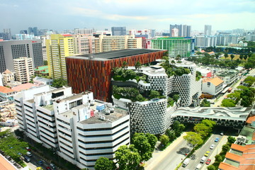 Down town Singapore Top view, Bugis Street District