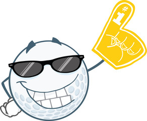 Smiling Golf Ball With Sunglasses And Foam Finger