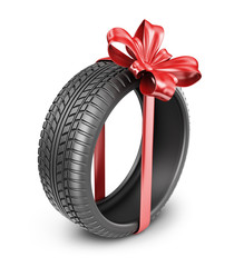 Tyres with a red ribbon. Present. 3D Icon isolated on white back