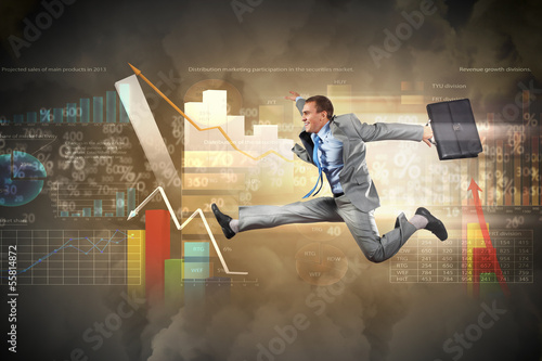 Image of running businessman