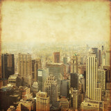 Fototapety Old style photo of skyscrapers in New York City.