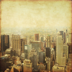Old style photo of skyscrapers in New York City.